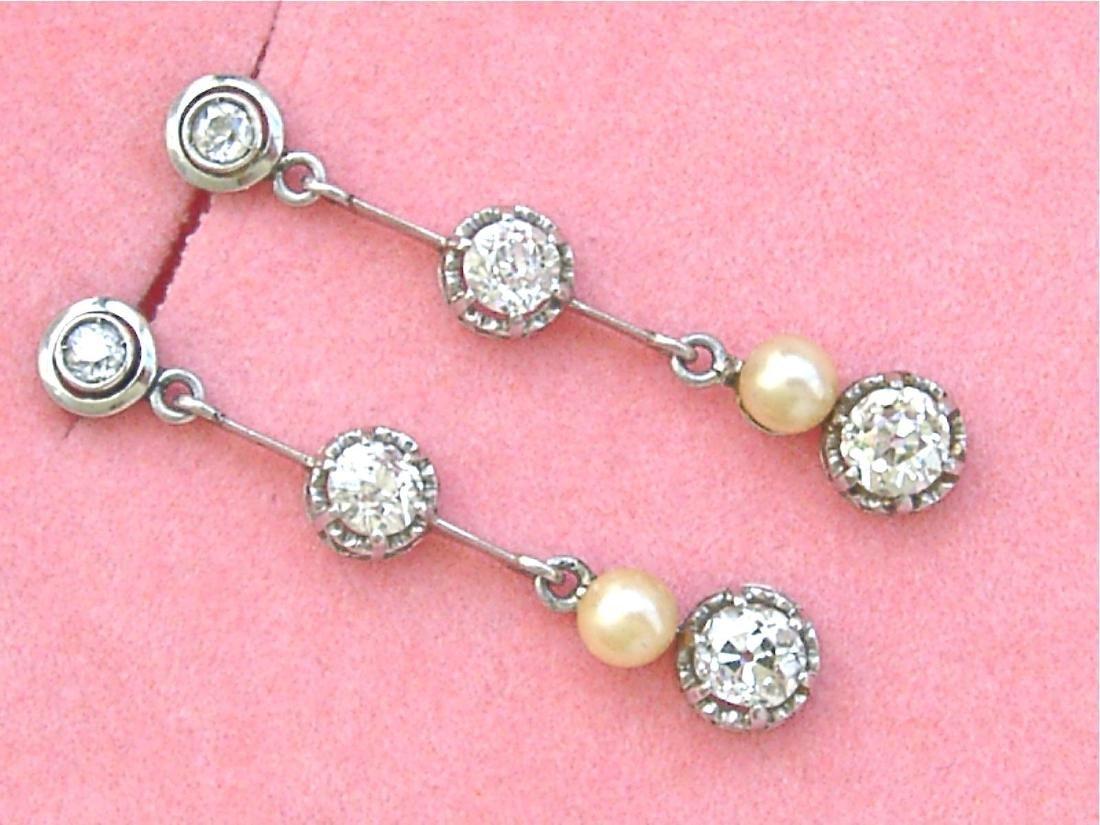 Antique Diamond Natural Pearl Dangle Earrings - 7