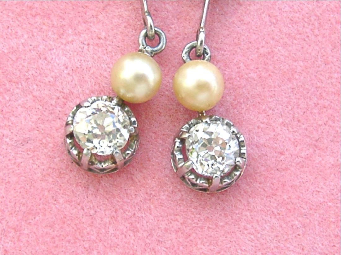Antique Diamond Natural Pearl Dangle Earrings - 8