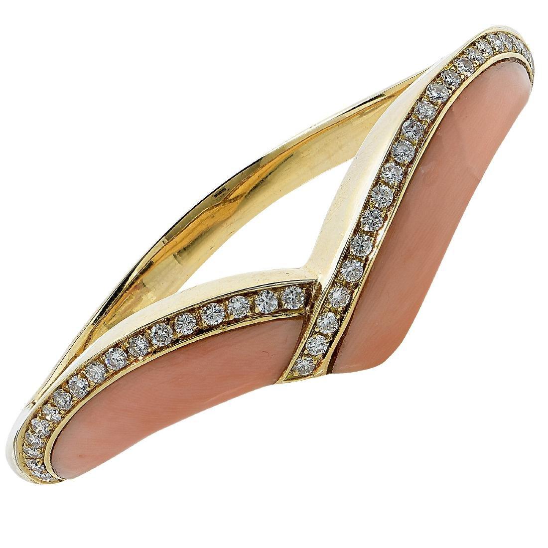 18K Yellow Gold Coral Diamond Bangle
