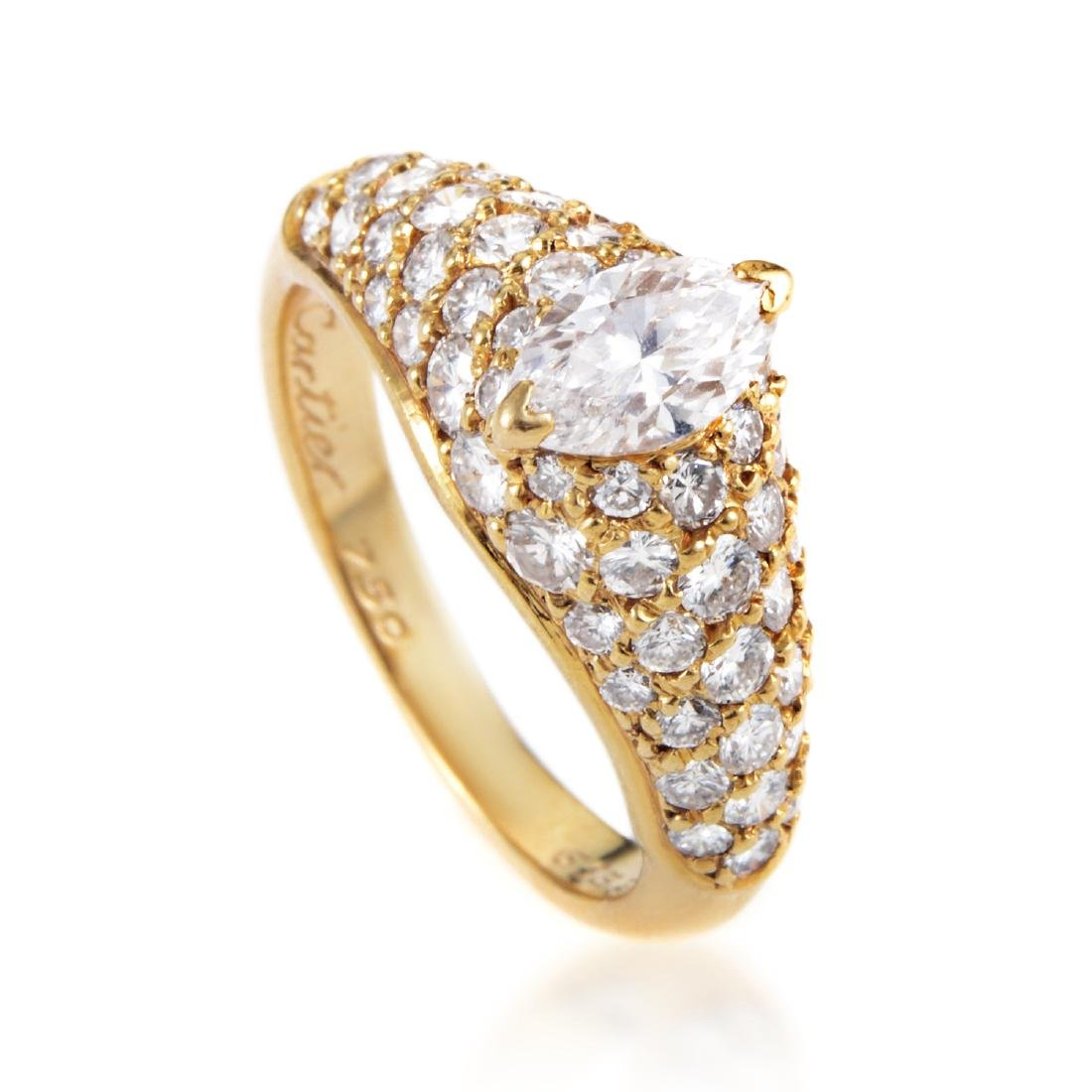 Cartier 18K Gold Marquise Diamond Engagement Ring