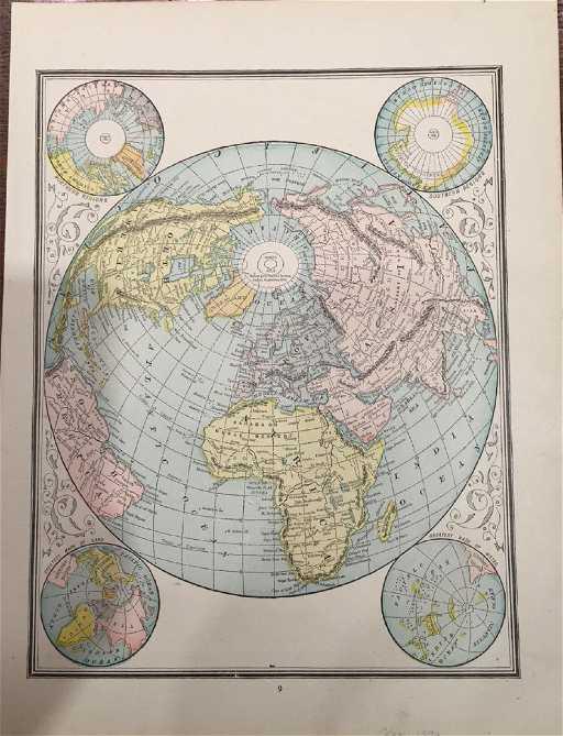 1890 World Map.Cram S World Map 1890