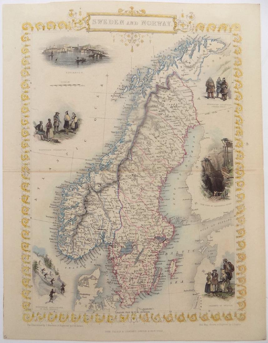 Map of Sweden & Norway by Tallis, 1851
