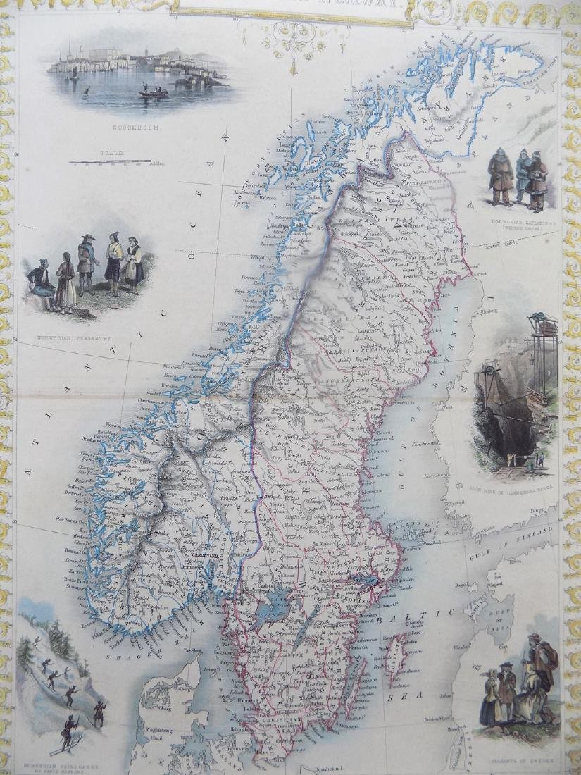Map of Sweden & Norway by Tallis, 1851 - 2