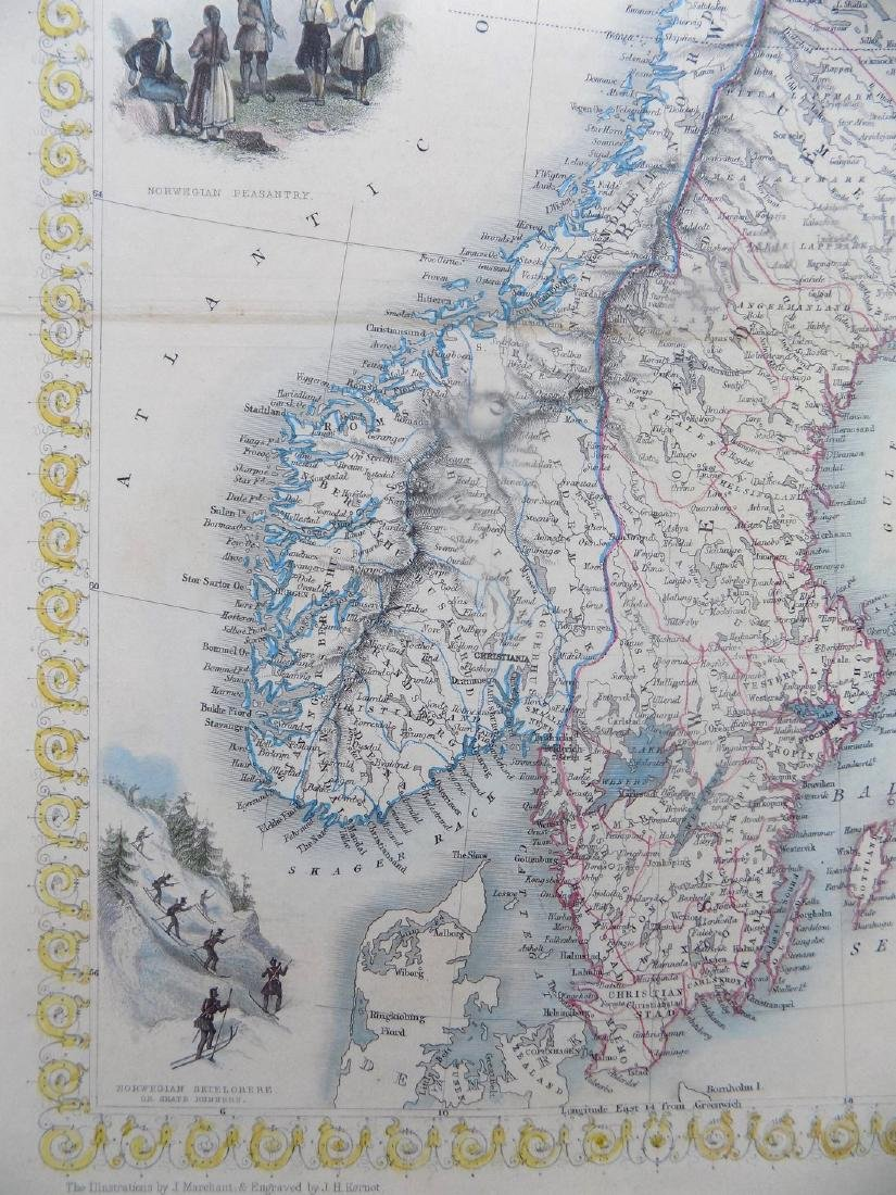 Map of Sweden & Norway by Tallis, 1851 - 3