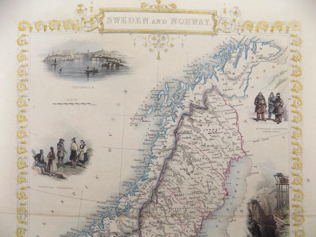 Map of Sweden & Norway by Tallis, 1851 - 5
