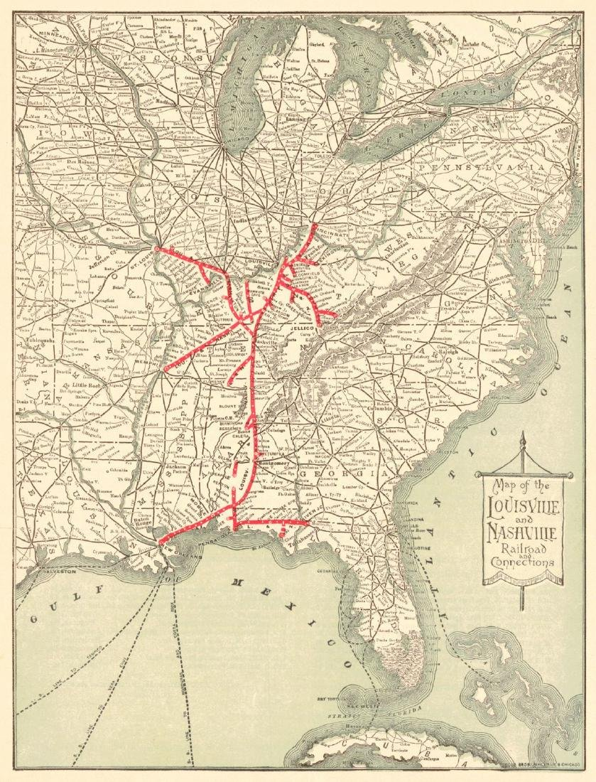 Map of Louisville & Nashville Railroad & Connections