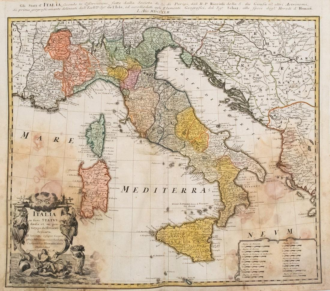 1753 Homann Map of Italy