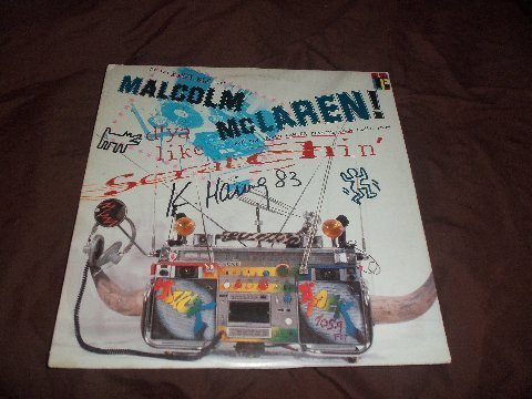 """Keith Haring Signed Malcolm Mclaren """" Scratchin """" LP - 2"""