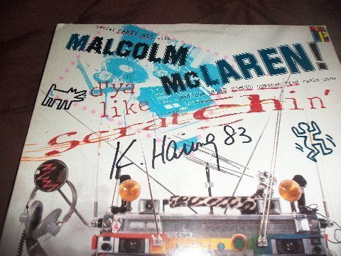 """Keith Haring Signed Malcolm Mclaren """" Scratchin """" LP - 3"""