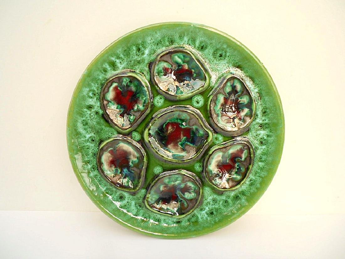 French Green Majolica Oyster Plate