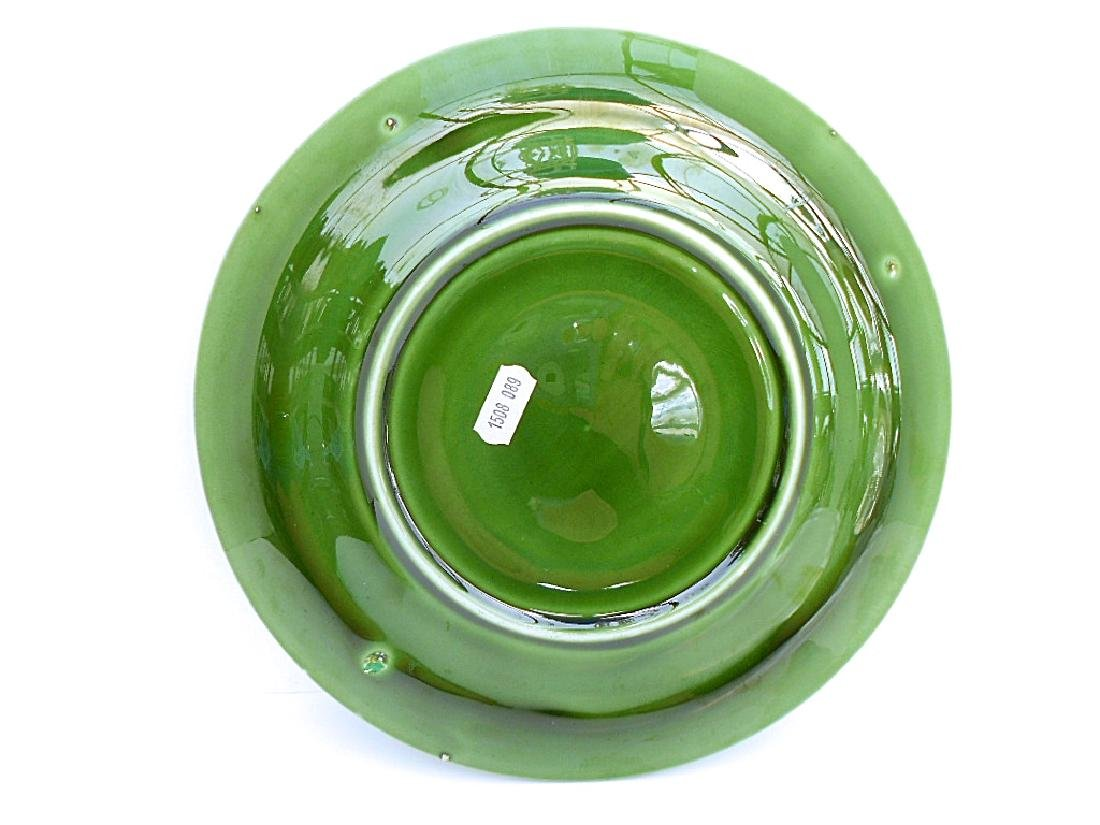 French Green Majolica Oyster Plate - 4