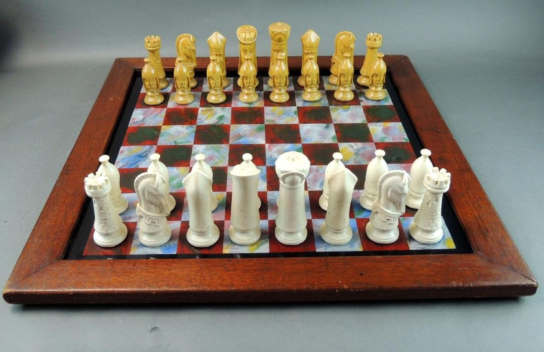 Ceramic Chess Set with Wood/Acrylic Board