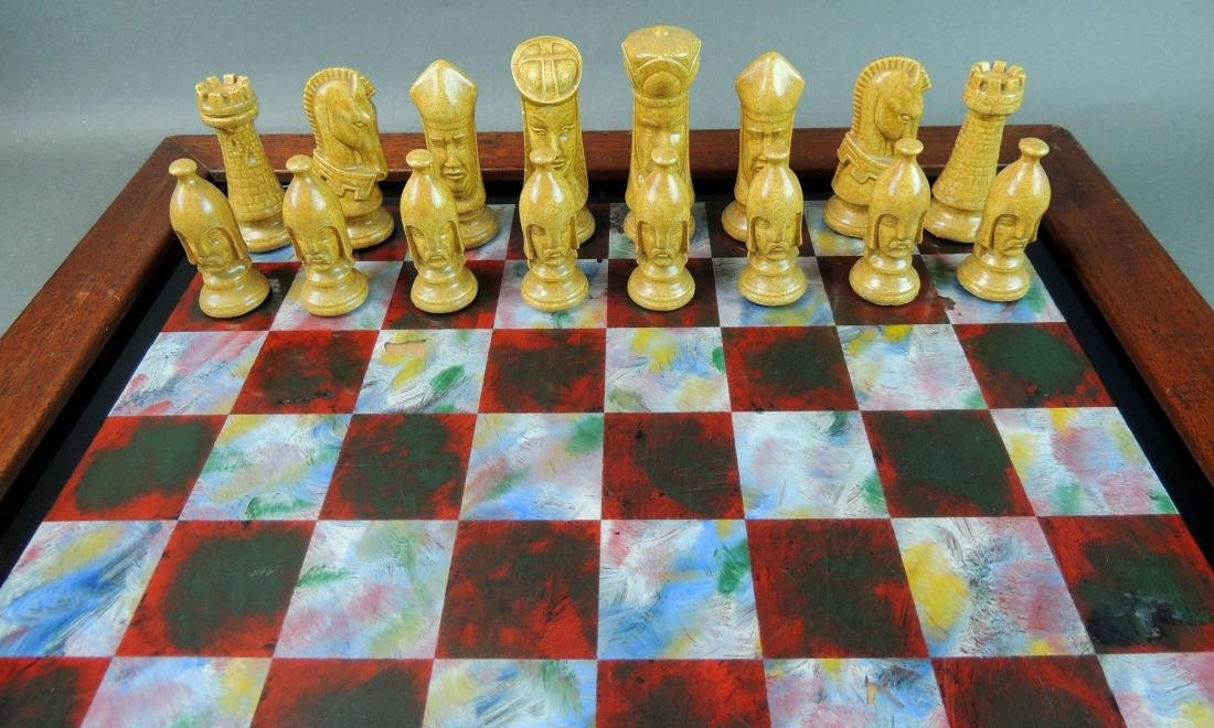Ceramic Chess Set with Wood/Acrylic Board - 2