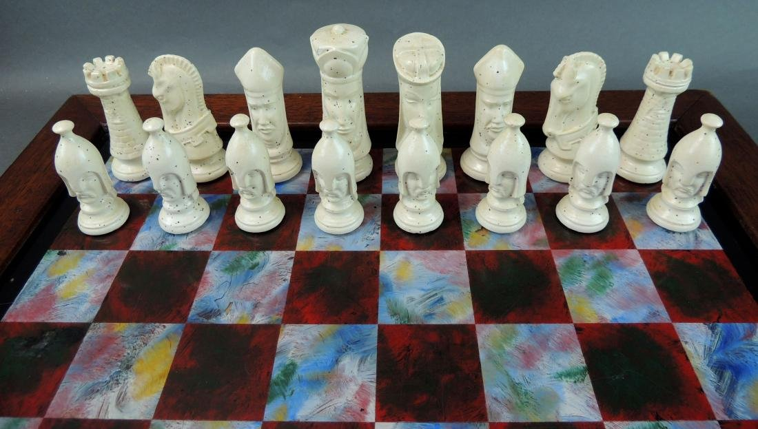 Ceramic Chess Set with Wood/Acrylic Board - 3