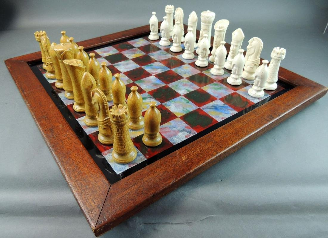 Ceramic Chess Set with Wood/Acrylic Board - 4