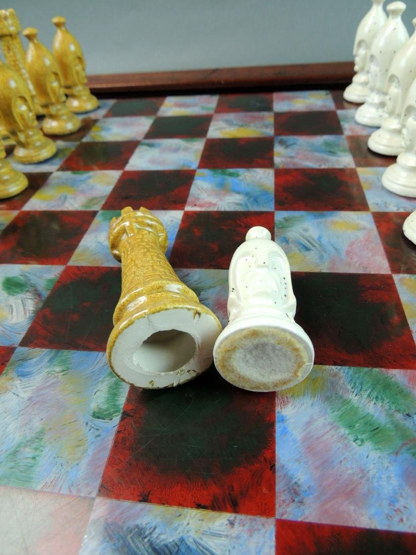 Ceramic Chess Set with Wood/Acrylic Board - 6