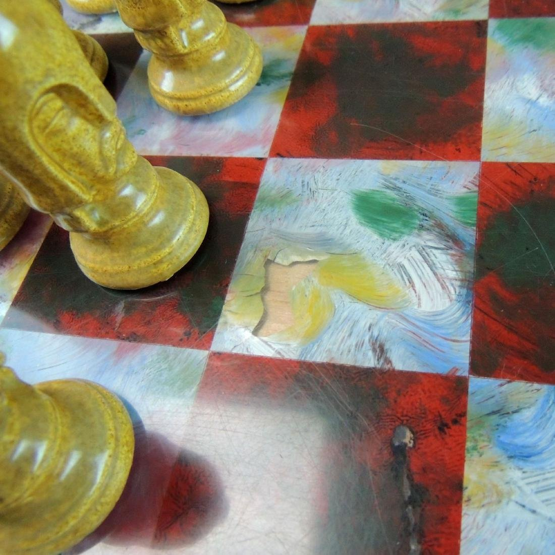 Ceramic Chess Set with Wood/Acrylic Board - 7