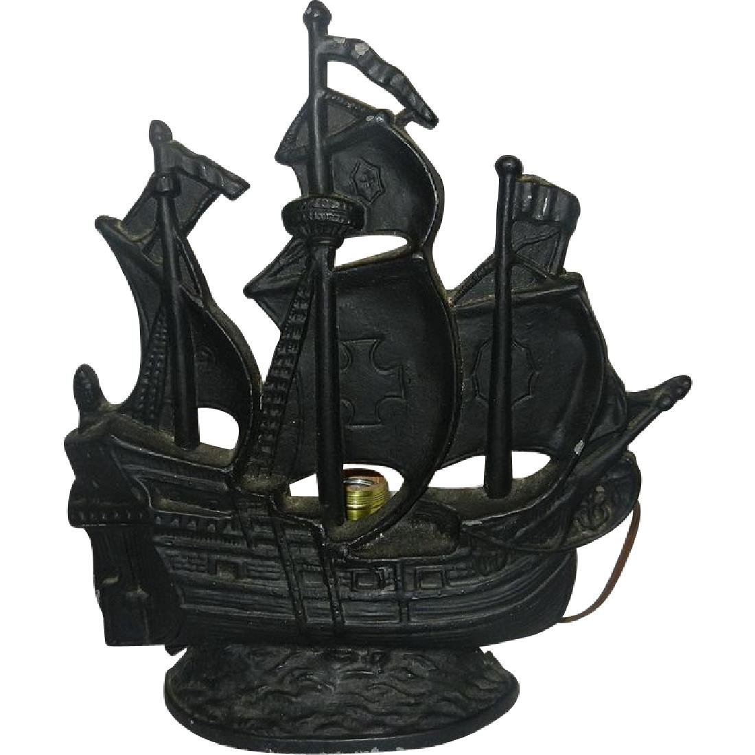 Pleasing Vintage Cast Brass Metal Figural Pirate Ship Table Lamp Interior Design Ideas Clesiryabchikinfo