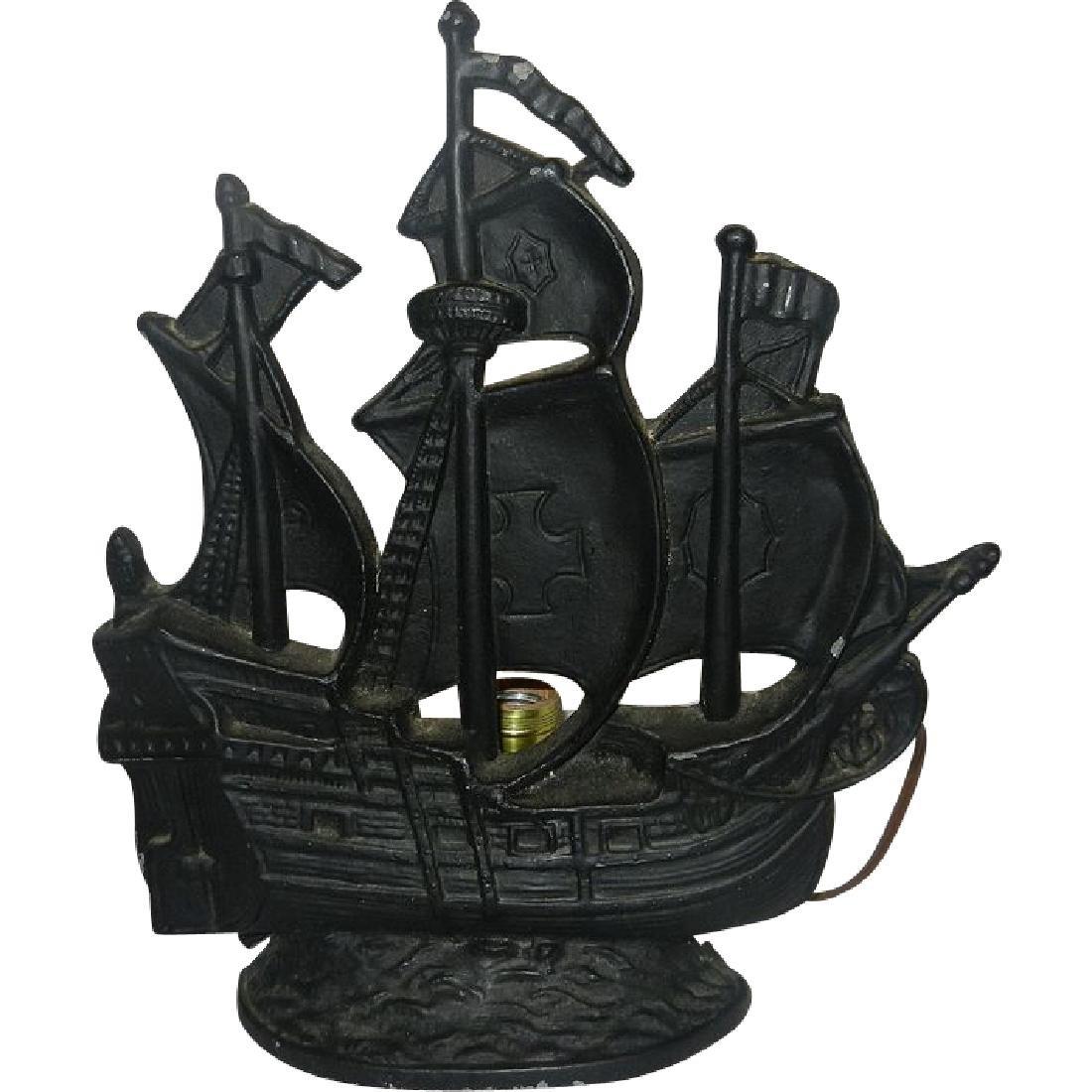 Enjoyable Vintage Cast Brass Metal Figural Pirate Ship Table Lamp Home Remodeling Inspirations Gresiscottssportslandcom