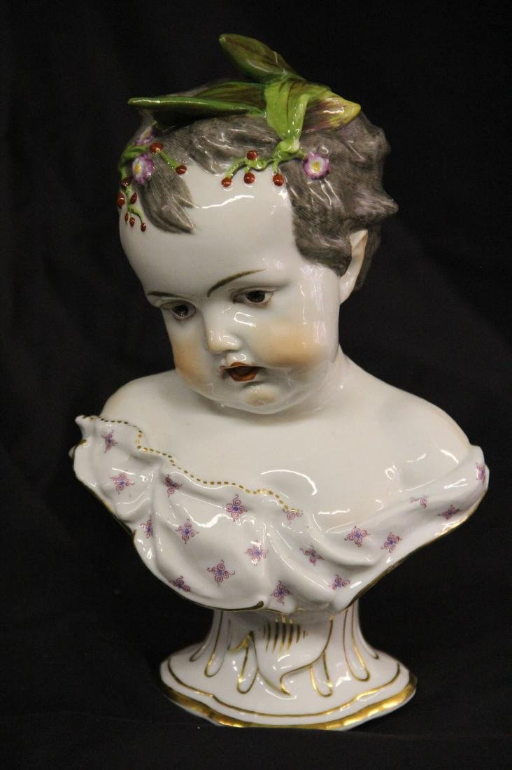 German Porcelain Bust of a Child