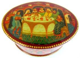 Russian Palekh Signed Hand Painted Lacquer Box