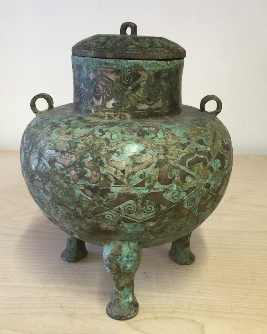 Chinese Archaic Inlaid Bronze Vessel. Han Period