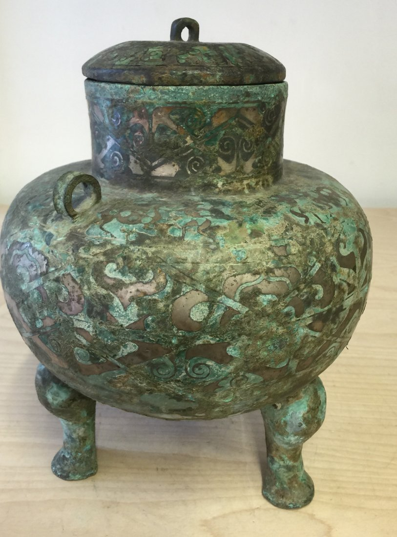Chinese Archaic Inlaid Bronze Vessel. Han Period - 2