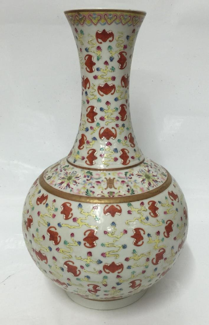 Chinese Famille Rose Vase. Qing Guangxu Mark - 2