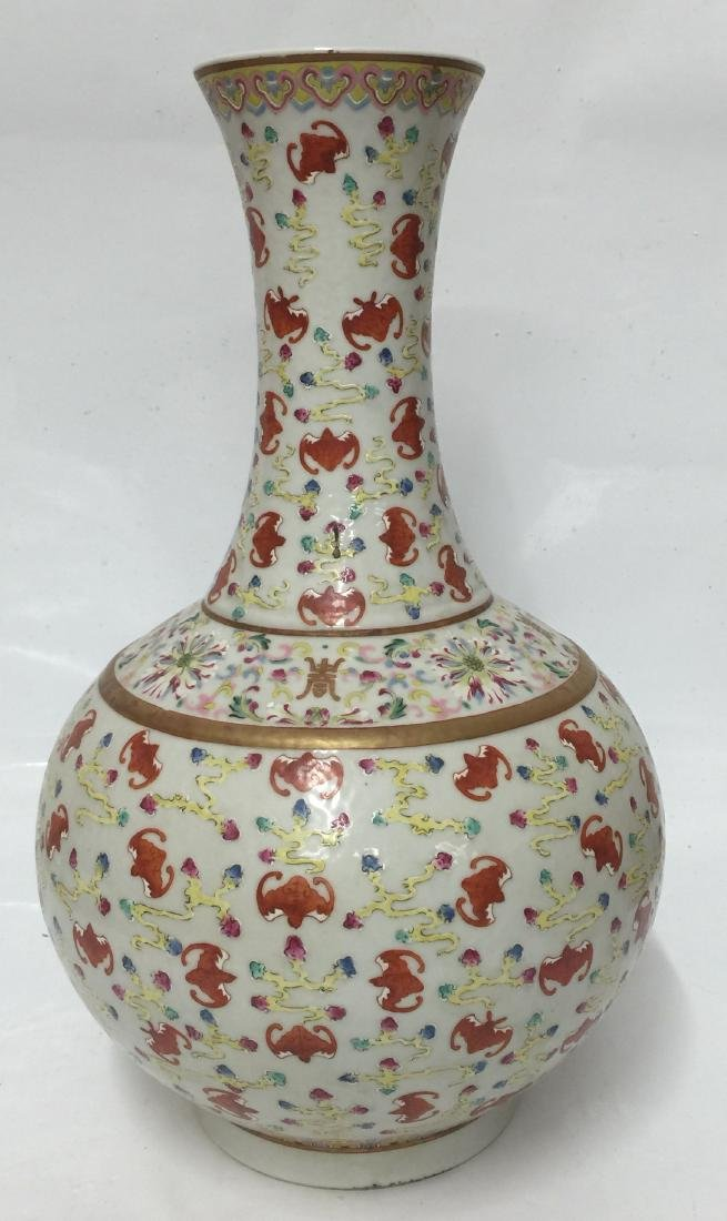 Chinese Famille Rose Vase. Qing Guangxu Mark - 6