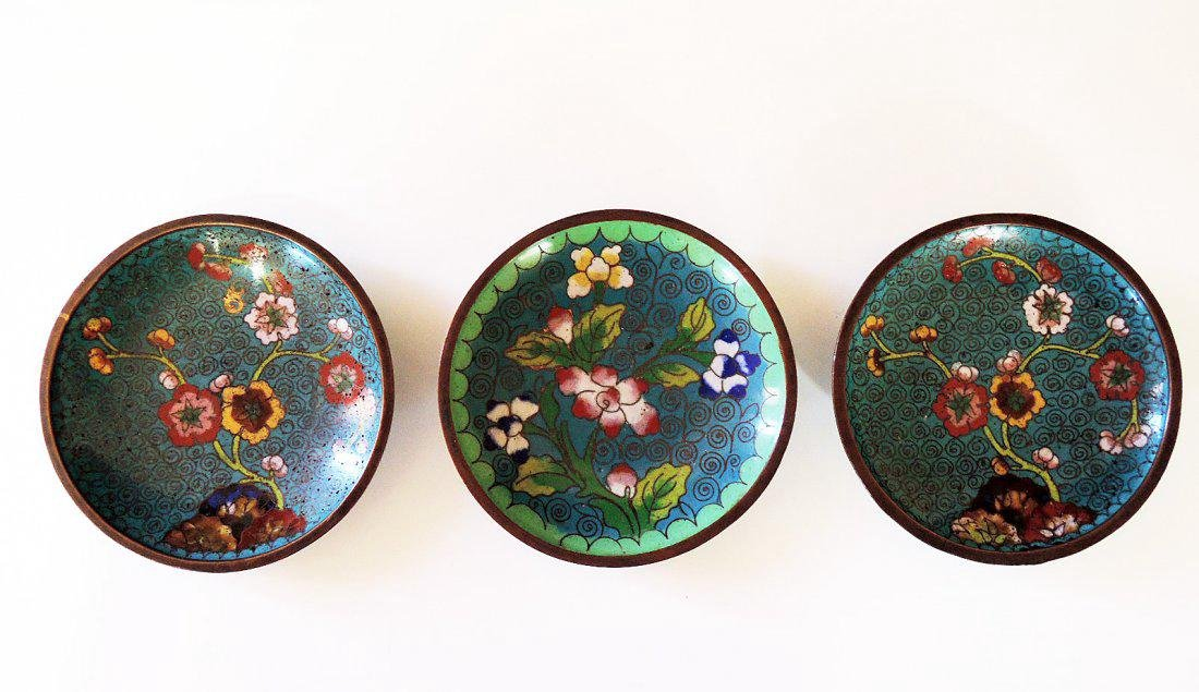 Three Chinese Cloisonne Plates