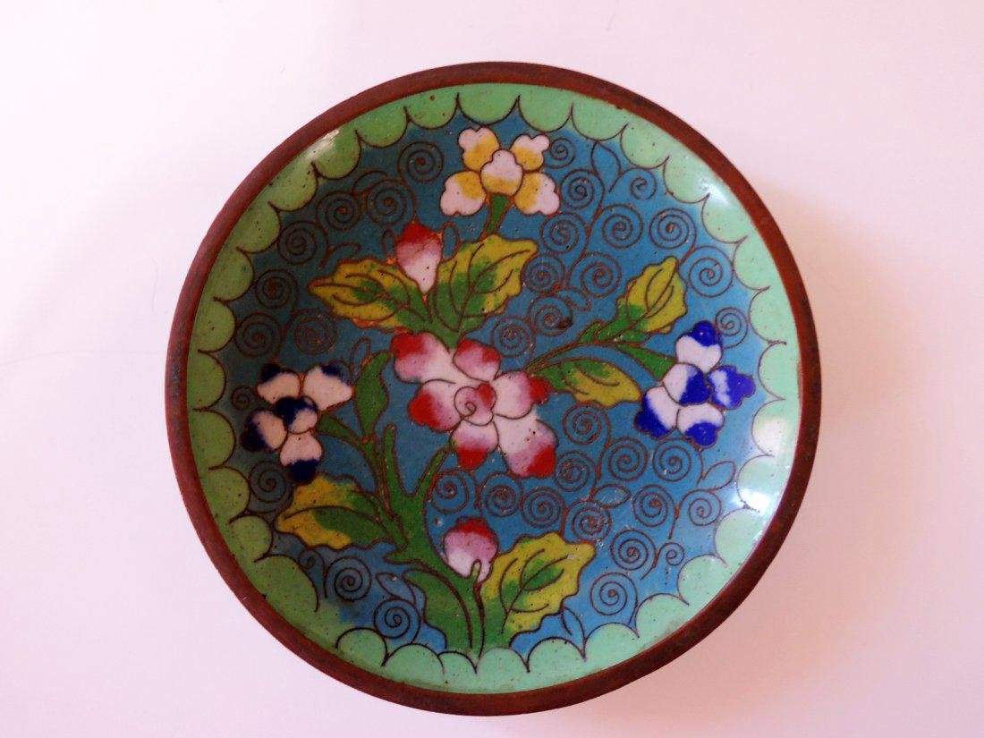 Three Chinese Cloisonne Plates - 3