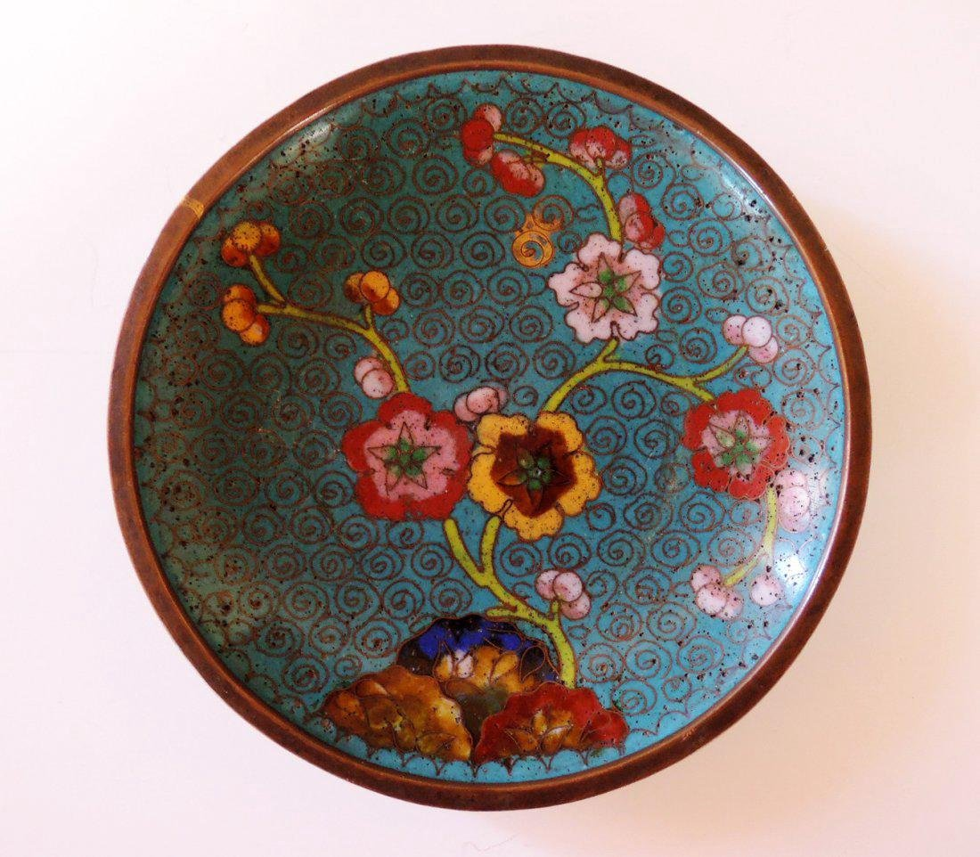 Three Chinese Cloisonne Plates - 4