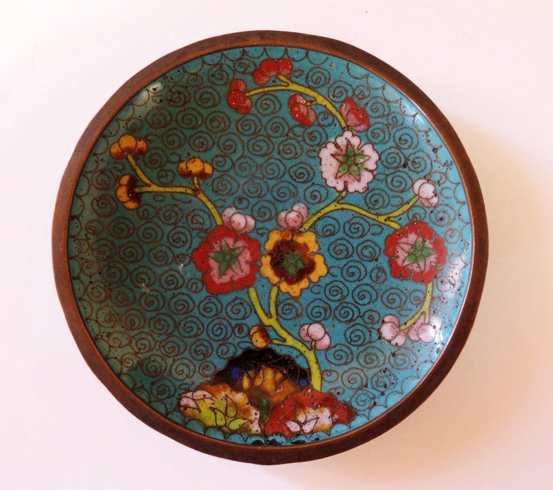Three Chinese Cloisonne Plates - 5