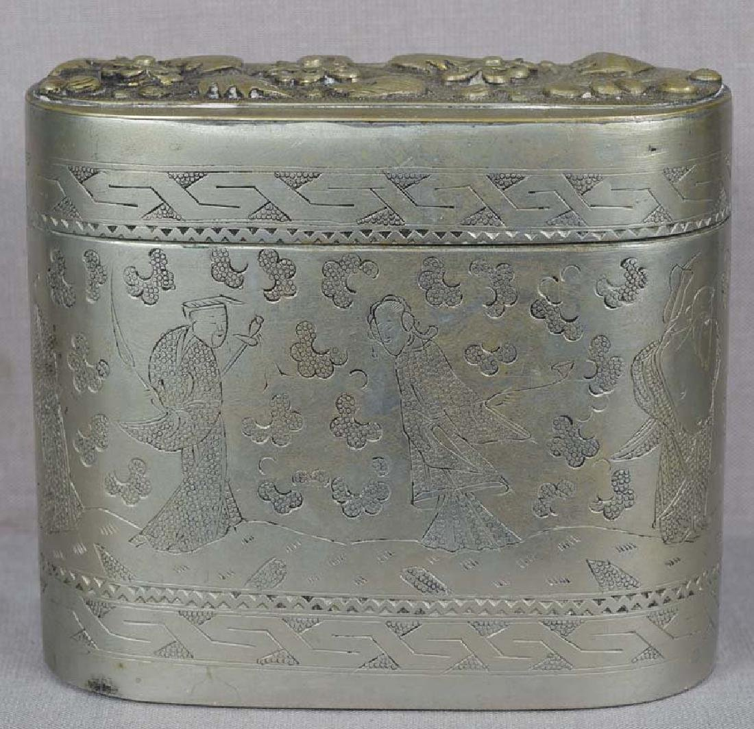 Chinese Paktong Scholar's Box 8 Immortals, 19th C