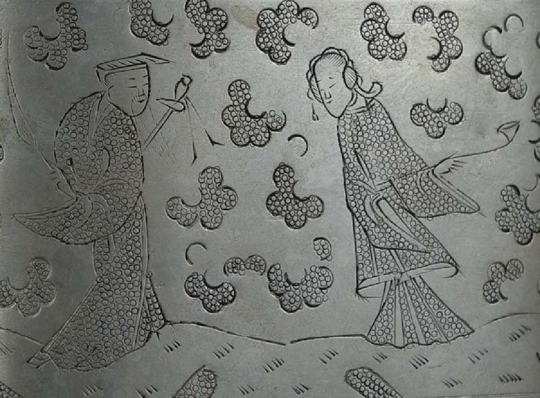 Chinese Paktong Scholar's Box 8 Immortals, 19th C - 3
