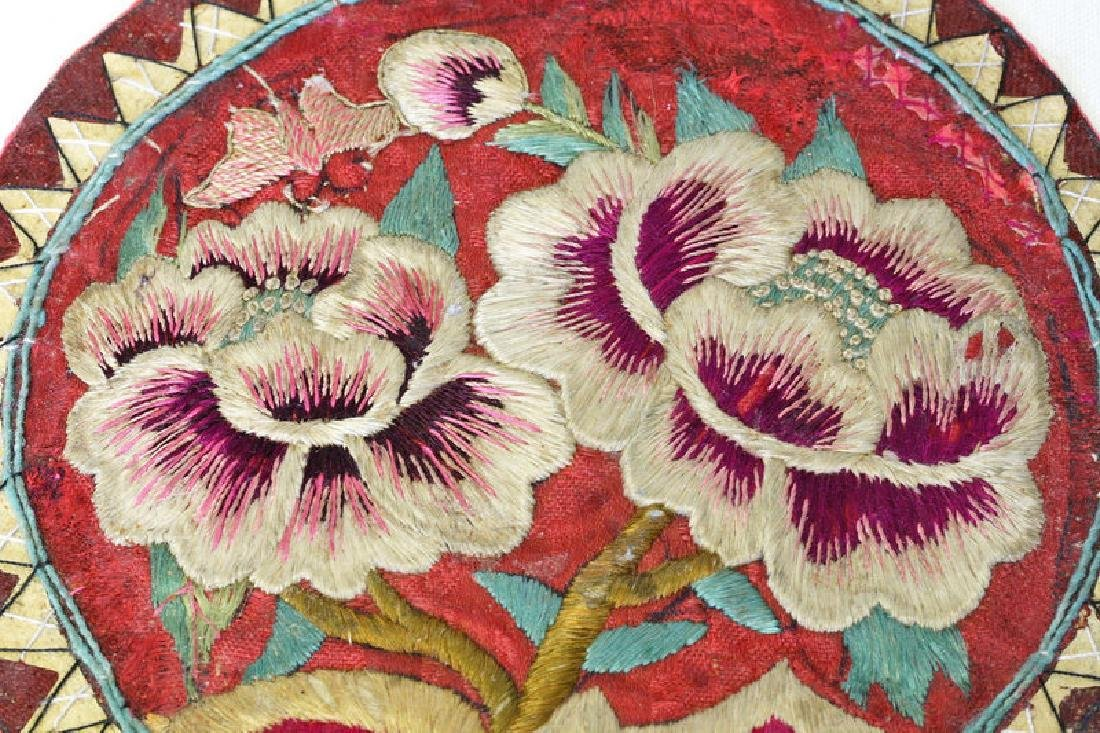 Korean Embroidered Pillow End, Peonies & Butterfly - 3