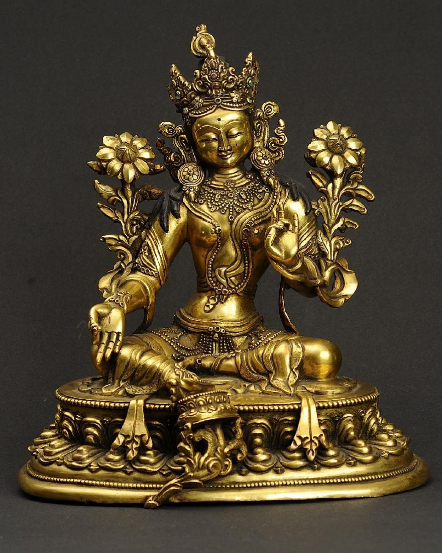Nepalese Green Tara Gold Gilted Copper Statue
