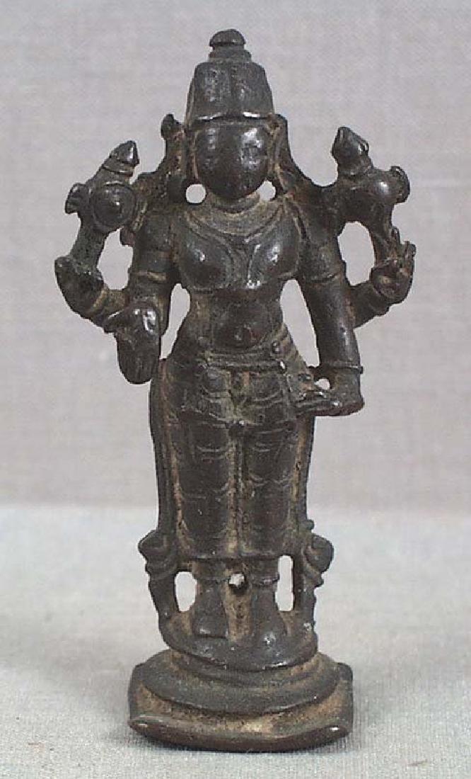 Indian Bronze Votive Statue Vishnu, 18th C