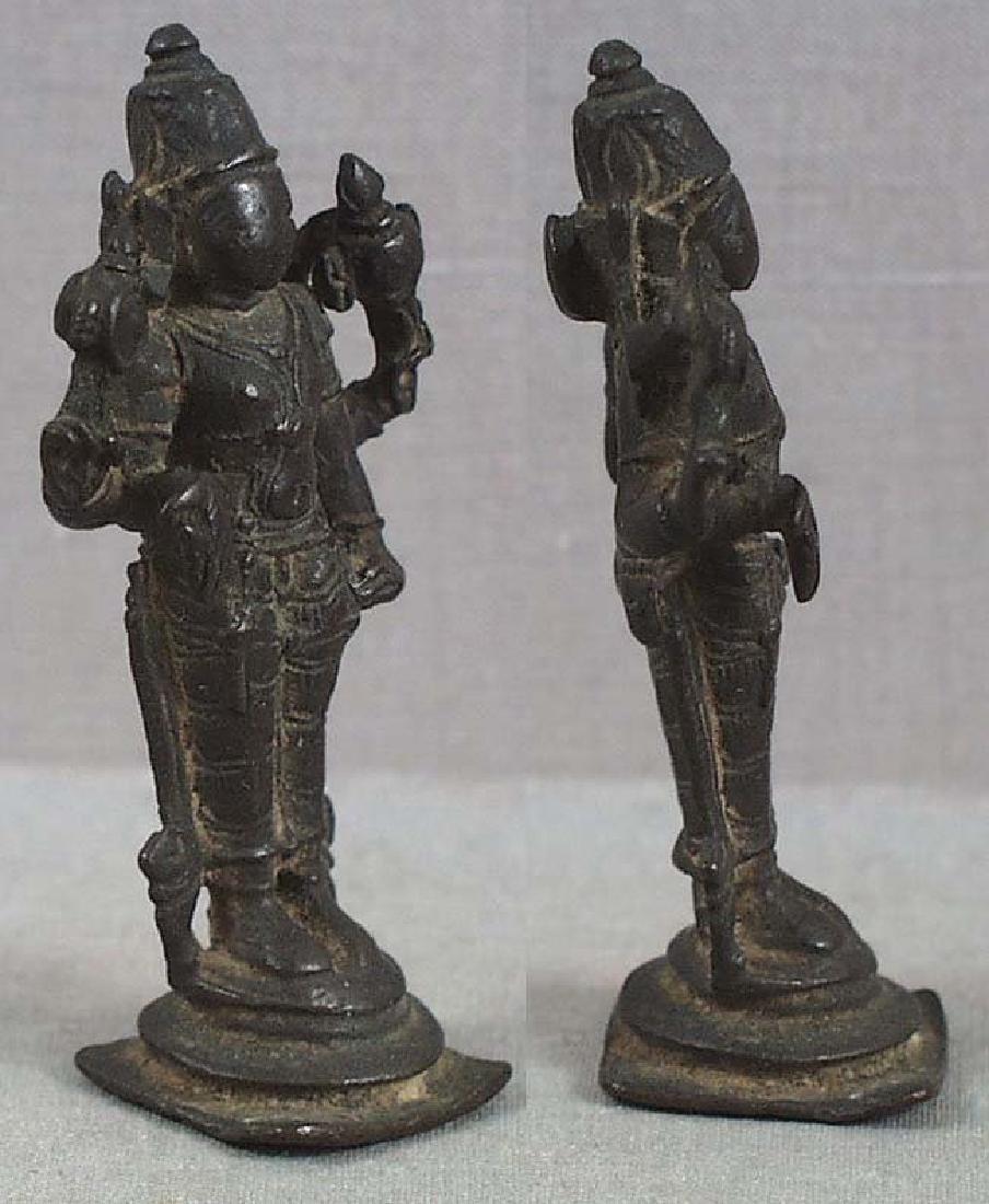 Indian Bronze Votive Statue Vishnu, 18th C - 2