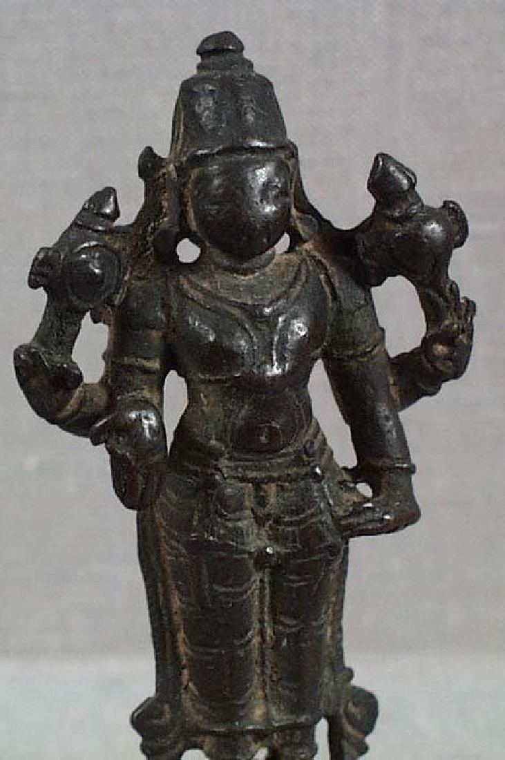 Indian Bronze Votive Statue Vishnu, 18th C - 5