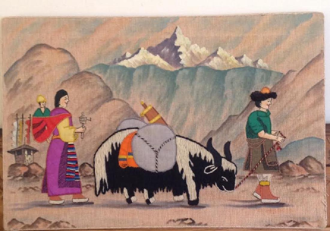 Rare Embroidery Needlework Mongolian Style Art, Farm