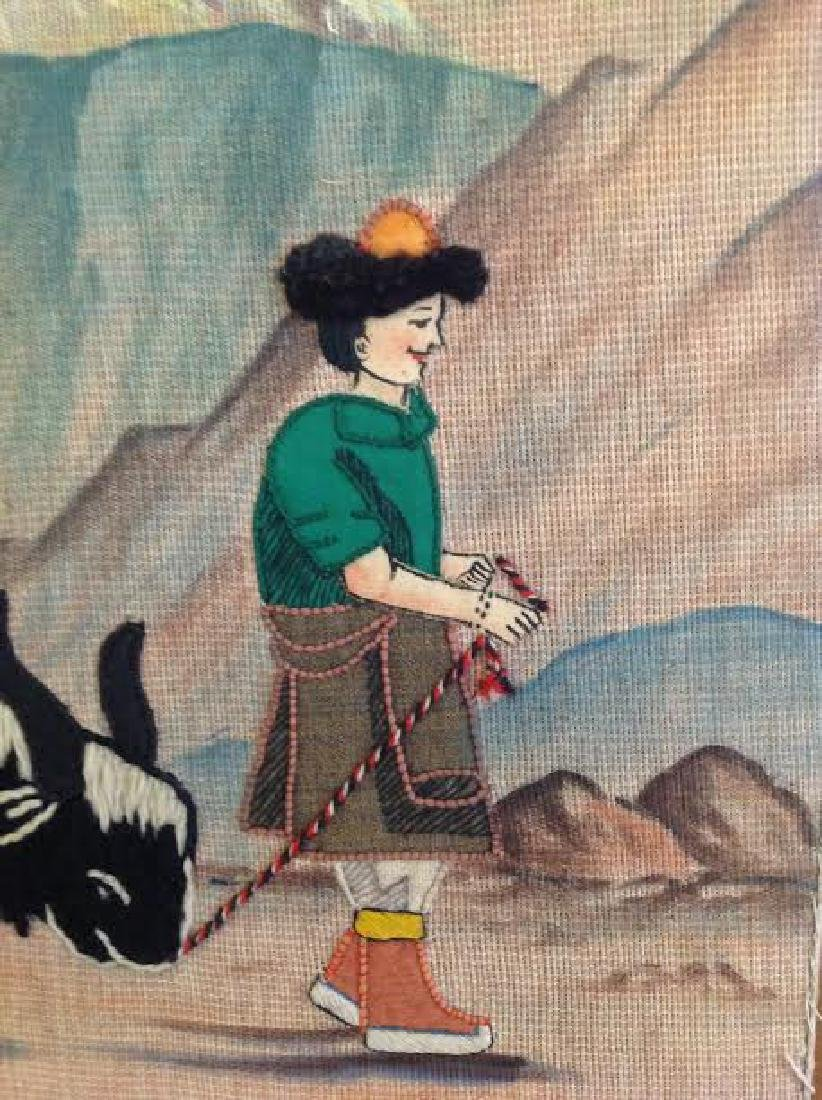 Rare Embroidery Needlework Mongolian Style Art, Farm - 6