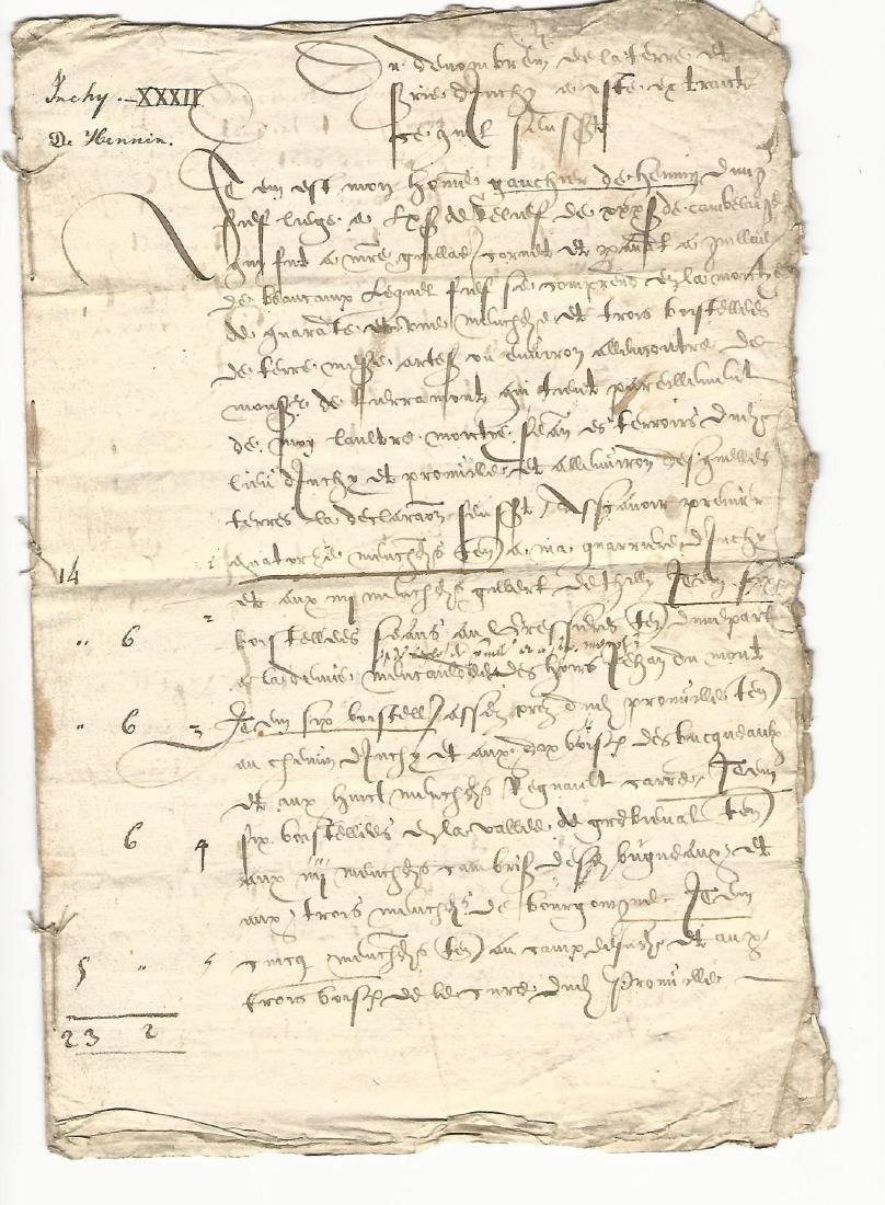 1620 French Manuscript Legal Document Seven Pages