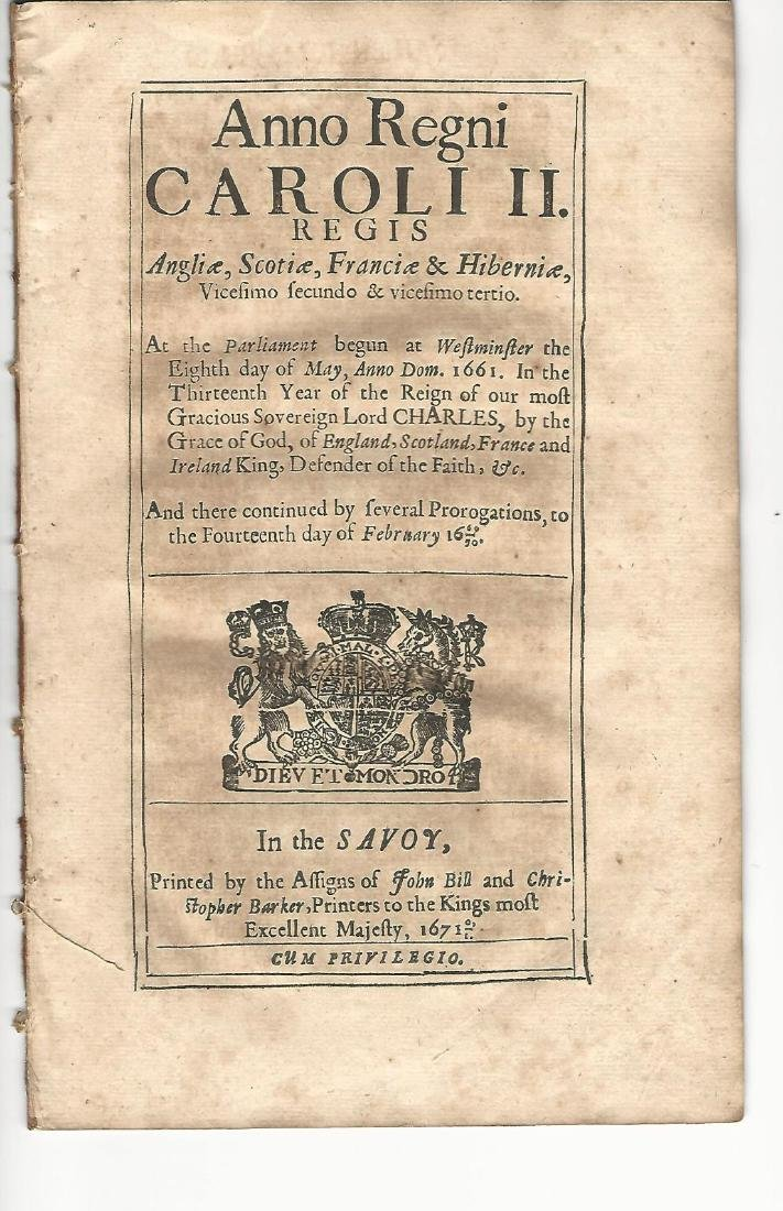 1671 English Tax Act Charles II