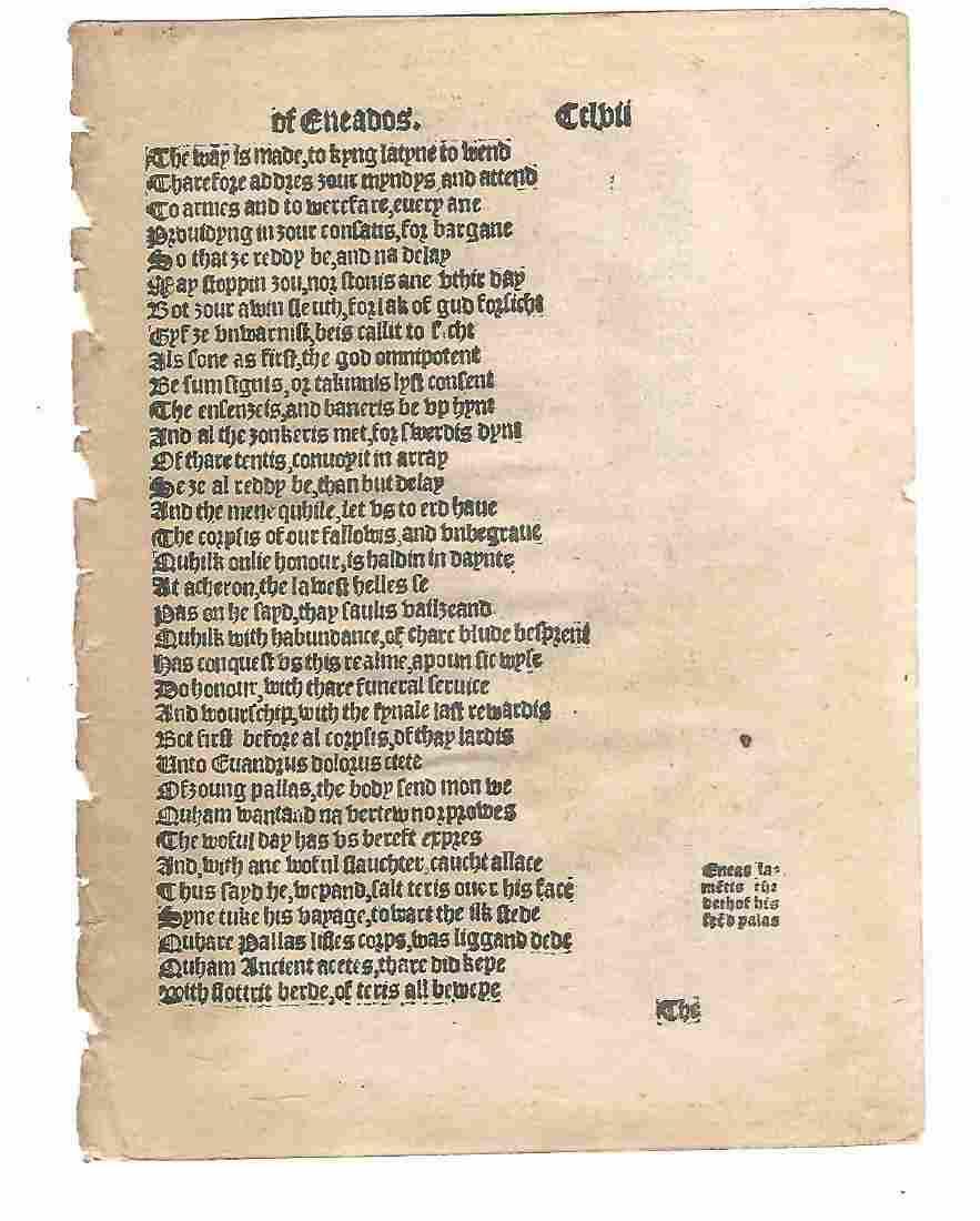 1553 English Leaf of the Aeneid Gavin Douglas