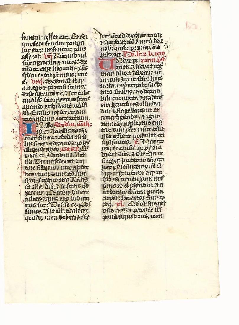 14th C Medieval Manuscript Prayer Leaf