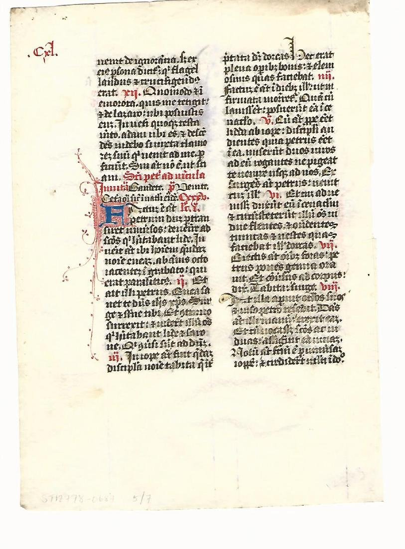 14th C Medieval Manuscript Prayer Leaf - 2