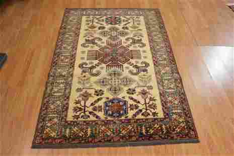 Kazak Wool Area Rug Hand Knotted 4x6