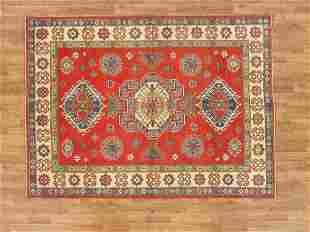 Kazak Area Rug Made By Hand 5x7