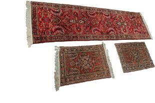 3 Rug Lot: Antique Persian Rugs 3'x9, 2'x3, 2'x3'